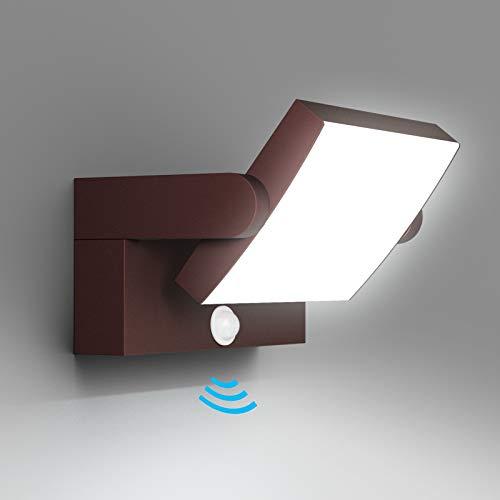 Klighten 24W LED Apliques Pared Exterior Interior con Sensor de Movimiento, IP65 Apliques Exterior Ajustable, Lámpara Moderno Pared Aluminio para Entrada Jardines, Blanco Frio 5700K-6000K, Bronce