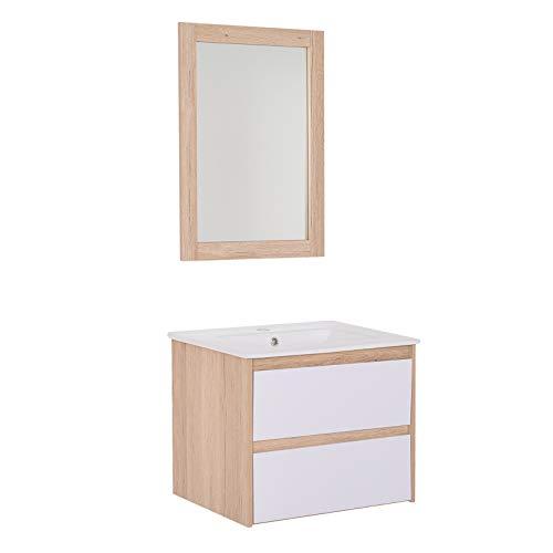 kleankin Conjunto Mueble de Baño Incluye Mueble Lavabo 2 Cajones Lavamanos de Cerámica Espejo a Juego Estilo Moderno Colgar a La Pared Color Roble Blanco Plateado Medida del Mueble 59x45x48cm