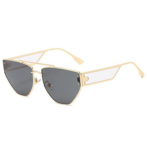 Gafas De Sol Gafas De Sol Punk De Ojo De Gato para Mujer, Gafas De Ojo De Gato A La Moda, Gafas De Sol De Mujer Vintage, Gris Dorado para Hombre