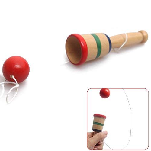 DULALA Kreative Kendama Cup und Ball Spielzeug Fang Geschicklichkeitsspiel Handgefertigte Geschenke Holzspielzeug für Kinder