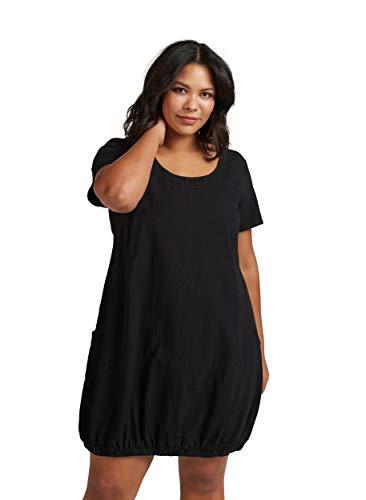 Zizzi Damen Weiches Kleid Knielang Kurzarm Basic Sommerkleid, Farbe: Schwarz, Gr. 50-52 (L)