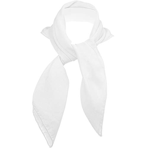 Skeleteen Chiffon Head Neck Scarf - White Classic Retro Sheer Square Head Scarves Handkerchiefs Handbag Ties for Women and Girls