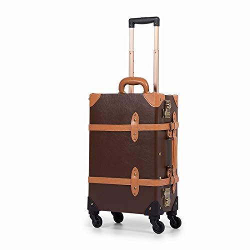 "[COTRUNKAGE] トランクケース アンティーク スーツケース キャリーケース TSAロック搭載 キャリーバッグ スーツケースカバーと収納袋付き 小型 軽量・4輪静音 出張 修学旅行用 (Sサイズ20""機内持込,ココアブラウン)"