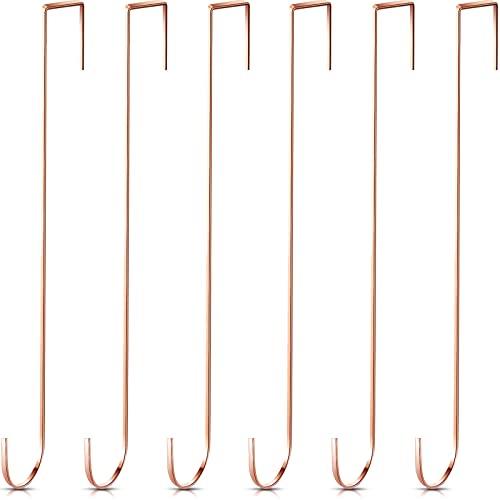 Ganchos Colgadores de Corona de Navidad de 15 Pulgadas Ganchos de Metal de Puerta Perchas Prácticas Colgantes de Toallas de Ropas para Decoración Puerta Entrada (Oro Rosa, 6 Piezas)