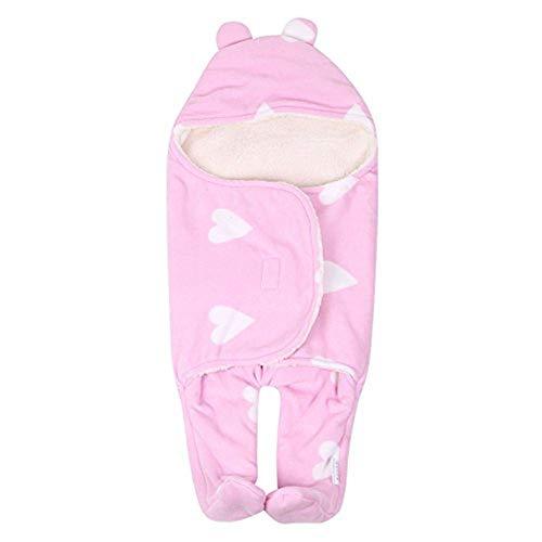 Bonita manta para bebé y niña, manta para bebé cálida y suave para el invierno, manta para gatear universal, gruesa, manta de algodón para bebé rosa Rosa Talla:75cm*65cm