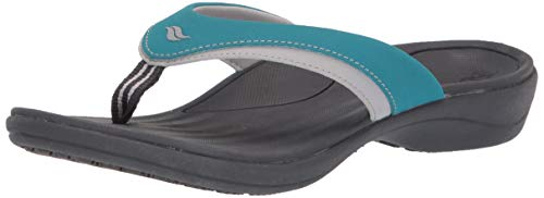Orthotic Recovery Sandals for Women by Powerstep, Fusion Orthotic Flip Flop Sandals with Built In Arch Support, Shock Absorbing Midsole and Contoured Footbed, Lightweight and Non-Slip Tread, Teal, 8 US medium