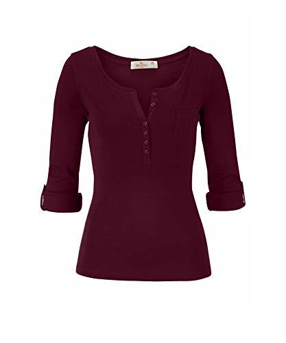 ELFIN Damen Langarmshirt Rundhals Leicht V-Ausschnitt Longsleeve T-Shirt Langarm Freizeit Oberteil Elegantes Stretchbar Henley Shirt Basic Tops, Bordeauxrot, XL