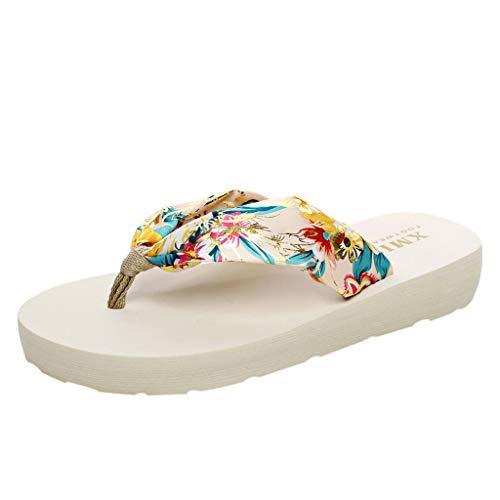 YU'TING ☀‿☀ Sandali Pantofole da Donna Pantofola da Donna Estiva Moda Pantofola Traspirante Leggera E Morbida Infradito da Spiaggia con Zeppa A Tacco Alto con Zeppa