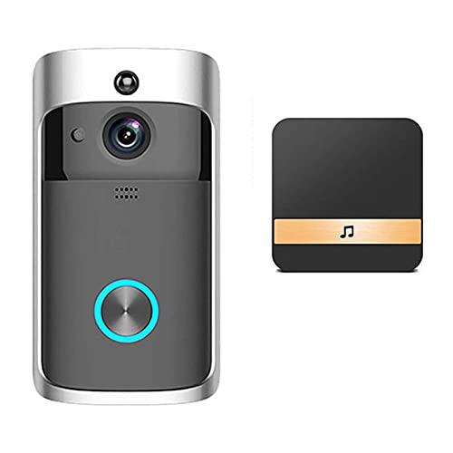 SCDJK Doorbell 720p Cámara Impermeable A Prueba De Agua Diálogo De Dos Vías Detección De Movimiento Fácil De Instalar 7 Días Almacenamiento Gratuito De Nubes