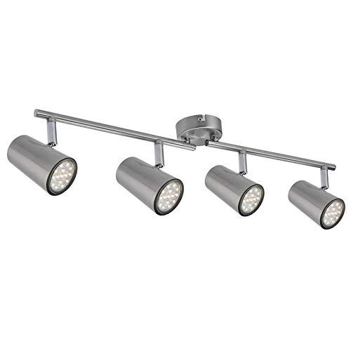 LED Deckenleuchte Spotbalken Schwenkbar inkl. 3W GU10 230V IP20 Metall Warmweiß LED Deckenstrahler, LED Deckenlampe, LED Deckenspot [Energieklasse A+] (4-flammig)