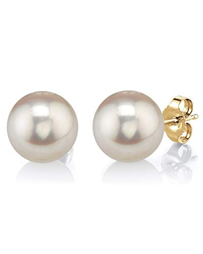 THE PEARL SOURCE 14K Gold 7-8mm Round White Freshwater Cultured Pearl Stud...