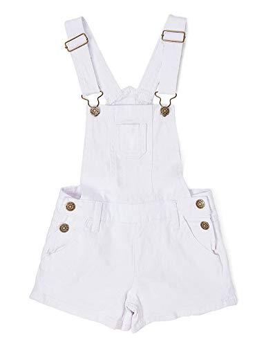 iGirlDress White Little Girls Juniors Short Denim Twill Overalls Shortalls Jumpsuits Casual Bib Boyfriend Romper #03M Size 6
