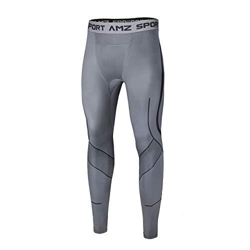 AMZSPORT Herren Kompressionshose Atmungsaktiv Lange Unterhose Laufhose Sport Tights Leggings, Grau XL