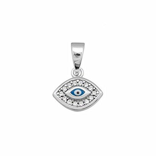 Colgante Plata Ley 925M Mujer Ojo Turco 12mm. Suerte Cerco Circonitas Amuleto Horus