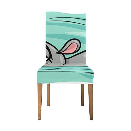 Esszimmer Leder Stuhlbezüge Big Swimming Hippo Schöne Tier Stuhl Rückenlehne Soft Stretch Esszimmerstuhl Schonbezug Waschbar Abnehmbar Ding Room Stuhlhussen Für Zuhause