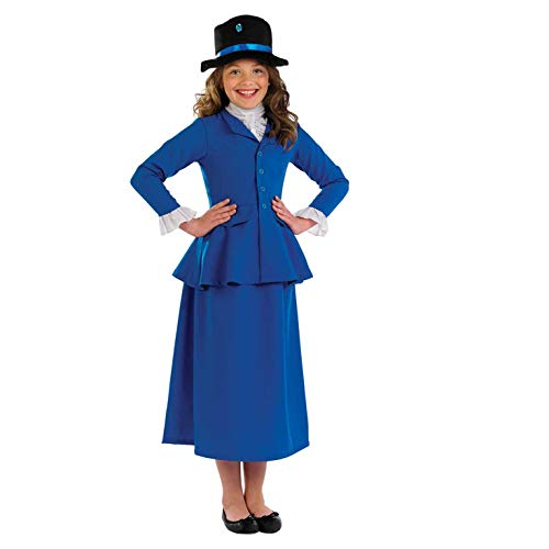 fun shack Girls Victorian Magic Nanny Costume Kids Historical Victorians Dress Outfit - Medium