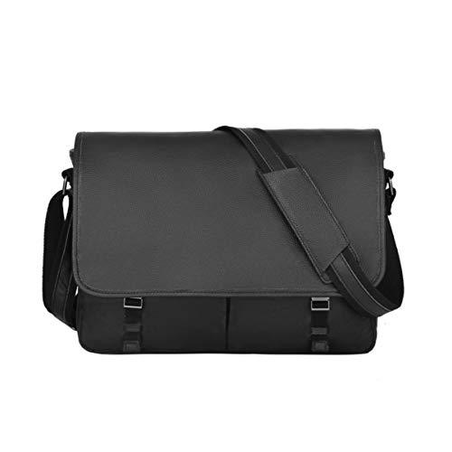 Leathario Men's Shoulder Genuine Leather Laptop Messenger Bag Briefcase Satchel (Black-52)