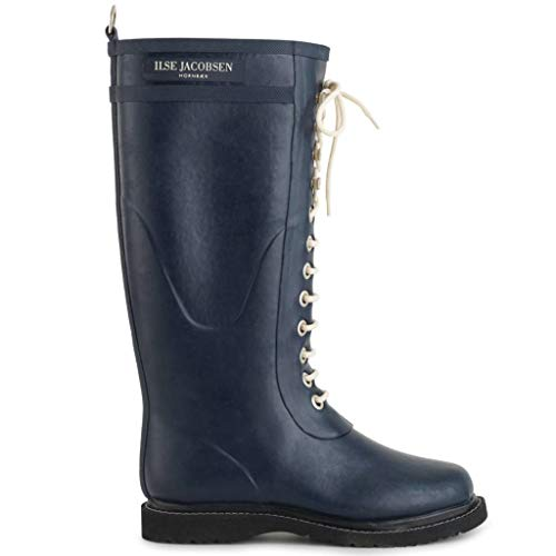 Ilse Jacobsen Damen Gummistiefel | Schuhe aus 100% Natur Bio Gummi | garantiert PVC frei | Lange Stiefel mit Schnürsenkel aus 100% Baumwolle | RUB1 Blau 39 EU