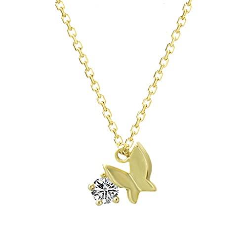 Collares con Colgante De Circón Brillante Cadena De Oro 9k Hipoalergénico Diseño Moda Mujer