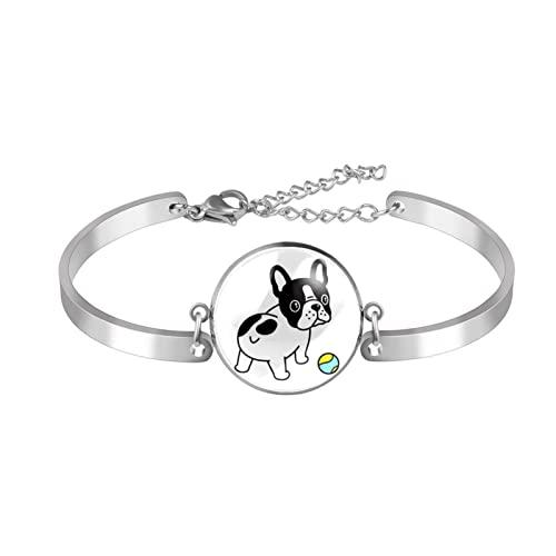 Pulsera encanto pulsera pulsera pulseras únicas bulldog moda con pelota de tenis dibujos animados niñas mujeres