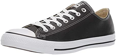 Converse Women's Chuck Taylor All Star Leather Low Top Sneaker, Black, 7.5