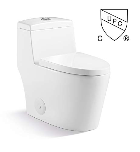 Kingsman Contemporary Durable Comfort Modern Design Toilet Bowl & Tank, One Piece Dual Flush 1.2/1.6 GPF With Soft Closing Toilet Seat, Elongated Toilet MJ80 - Pure White