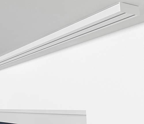 ALOHA Gardinenschiene aus Aluminium Vorhangschienen, Deckenbefestigung 2, 3, 4 -läufig für Schiebevorhänge, Vorhänge (RIO / 2-läufig / 240cm / nur Gardinenschiene / Weiß)