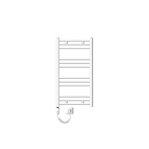 ECD Germany Radiador eléctrico de toallas - 500 x 800mm - Blanco - Curvado con conexión lateral - Radiador valentador y secador de toallas - 300W - Radiador calefactor de baño - Incluye kit de montaje