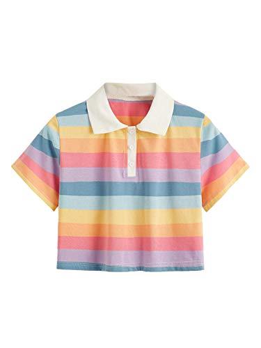 SweatyRocks Women's Collar Half Button Short Sleeve Rainbow Striped Crop Top T-Shirt Multi Medium