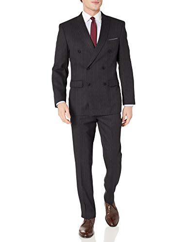 Perry Ellis Men's Two Piece Finished Bottom Slim Fit Suit, Dark Gray Stripe, 42 Long