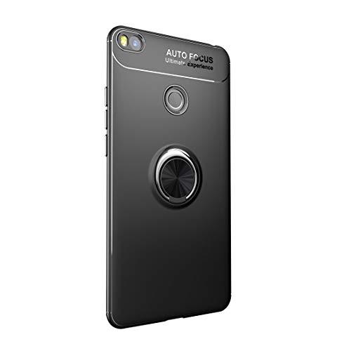Funda Xiaomi Mi MAX 2 Carcasa Delgada Silicona Suave Negro TPU Case Anti-Arañazos, con Anillo Grip Kickstand y Soporte la función de Montaje Teléfono Case para Mi MAX 2 (Mi MAX 2, Negro)