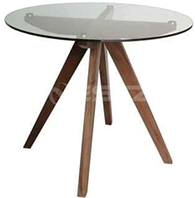 Amelia Collection Round Glass Dining Table - 90cm - Walnut