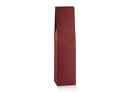 10 x wijndozen voor 1 x verticale vorm Bordolese Borgognotta robuuste kerstversiering van karton, met handvat buiten cm.18x9x38,5h - 1 bordeaux