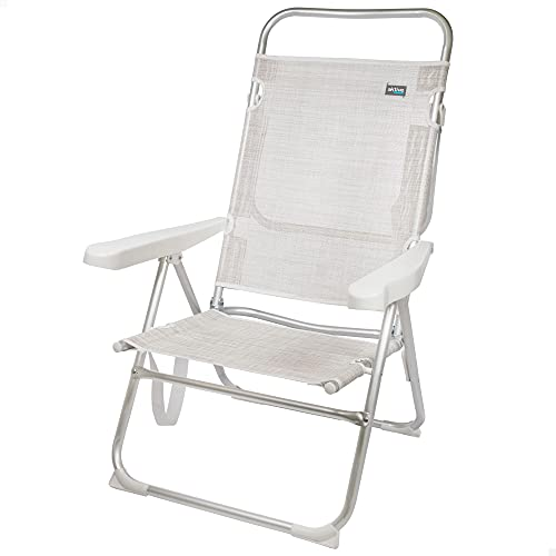 Aktive 53976 - Silla plegable alta con respaldo reclinable, Silla de playa, mide 63x57x99 cm, altura del asiento 33 cm,...