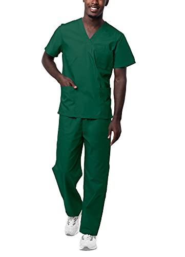 Sivvan Unisex Scrubs - Classic V-Neck Top & Drawstring Pants Scrub Set - S8400 - Hunter Green - L