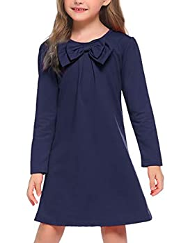 Arshiner Kids Girl O-Neck Long Sleeve Solid Bow-tie Dress Navy Blue 130 Age for 9-10Y