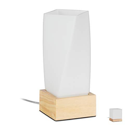 Relaxdays Prisma, tafellamp, woon- en slaapkamer, hout & melkglas, E14 bedlamp, 24 x 10 x 10 cm, wit/natuur