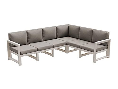 Gartenmöbel aus Holz Gartensofa Gartengarnitur mit Auflagen Lounge Möbel Verschiedene Varianten MCH (6.SW (245,5x187,5x82), Platin)