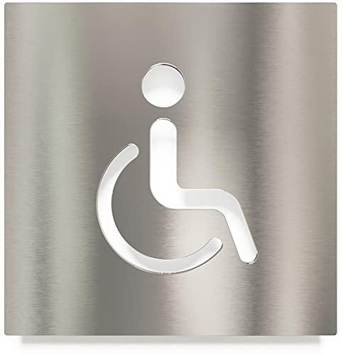 Edelstahl WC-Schild – selbstklebend & pflegeleicht – Design Toiletten-Schild – Rollstuhl-Fahrer Piktogramm – B.06.E