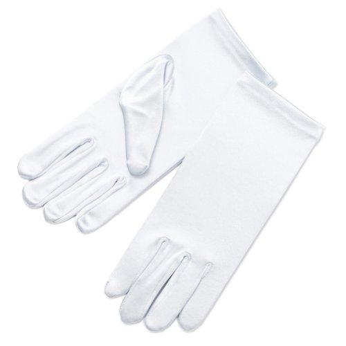 ZaZa Bridal Girl's Fancy Stretch Satin Dress Gloves Wrist Length 2BL-Girl's Size Medium (8-12yrs)/White