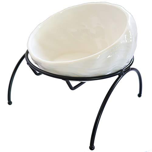 SUMMER SUNSET 猫 食器 ボウル 陶器 スタンド付き 餌入れ 食べやすい高さ 6色カラー (ホワイト)