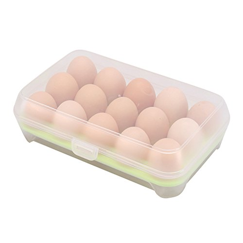 Shuda - Caja de almacenamiento multiusos con 15 hueveras para bandeja de huevos con tapa para frigorífico, cocina, organizador de utensilios (transparente), plástico, Verde, 7*15*23cm