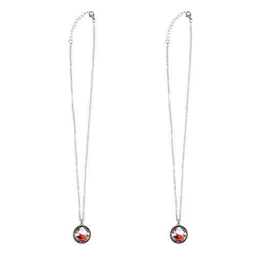 Holibanna 2 peças de colares cabochão de vidro com pingente de pedra da época do Natal para lembrancinhas de festa