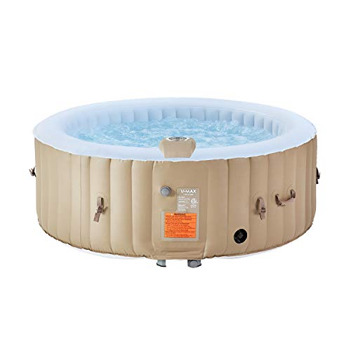 U-MAX Inflatable Hot Tub, 2-4 Person Portable SPA Blow Up Hot Tub with Built in Heater and Bubble Function(Roundness, 71' x 25')