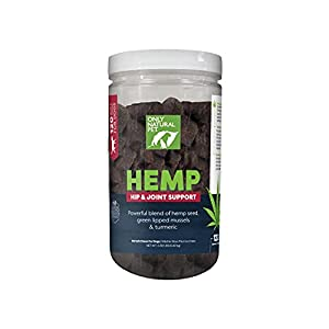 Only Natural Pet Hip & Joint Hemp Soft Chews - with Turmeric, Green Lipped Mussels - Hip & Joint Supplement for Dogs, Pain Relief & Mobility Support Formula - 120 Count