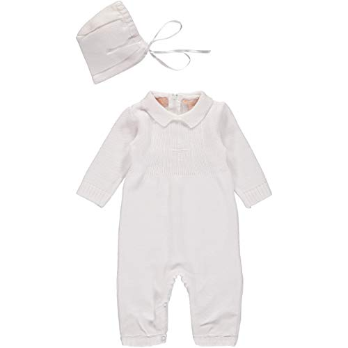 Baby Boy's Christening Outfit with Bonnet Hat - Cross Detail (12 Months)