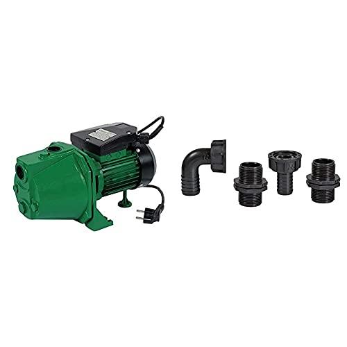"""Ribiland 1314 - Pompe à Eau de Surface Auto-amorçante - 970 Watts - Débit de 40 l/min - Vert & 01552 - Raccord pour Pompe 1"""" - Lot de 4 - Noir"""