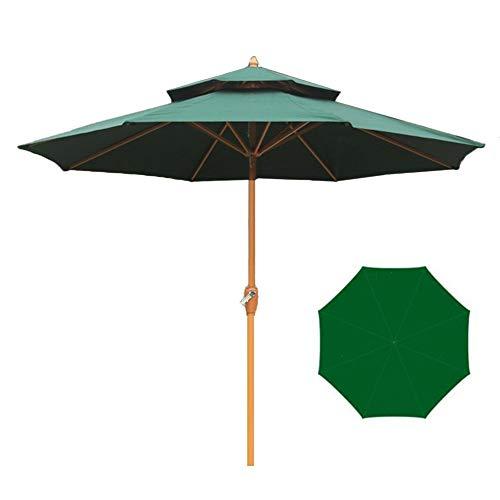 Parasols Parapluie de Table Professionnel, Double Toit pour L'extérieur, avec Abat-Jour à Manivelle en Aluminium, pour La Terrasse de Jardin, Vert, 2,7 m / 8,9 Pieds