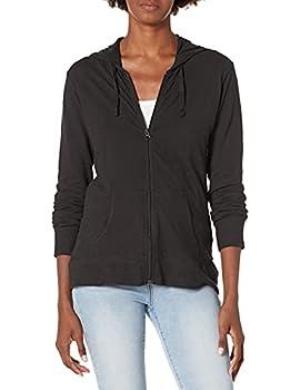 Hanes Women s Jersey Full Zip Hoodie Black Small