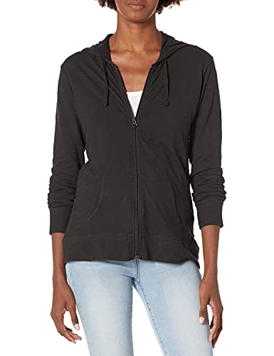 Hanes Women's Jersey Full Zip Hoodie, Black, Large